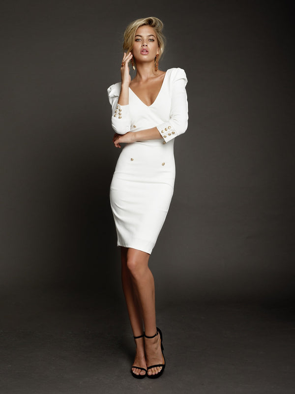 Duke n Co dress, front view of the Larissa Dress in white.