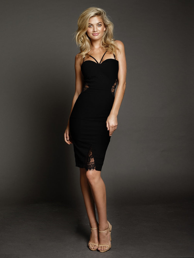 Duke n Co dress, front view of the Isabella, a sexy club dress in black.