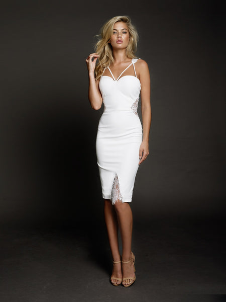 Duke n Co dress, front view of the Isabella Dress in white.