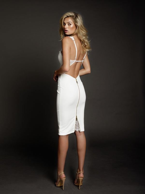 Duke n Co dress, back view of the Isabella Dress in white.