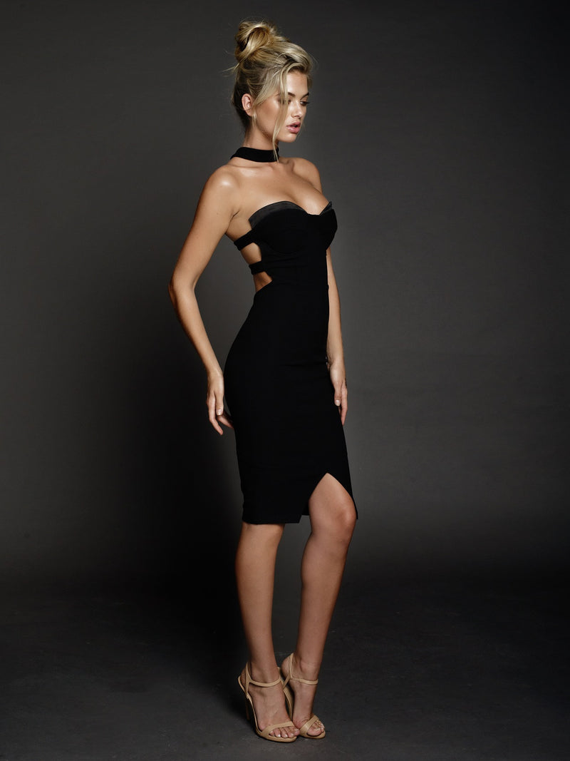Duke n Co Dress, front side view of the Claire Dress in black.