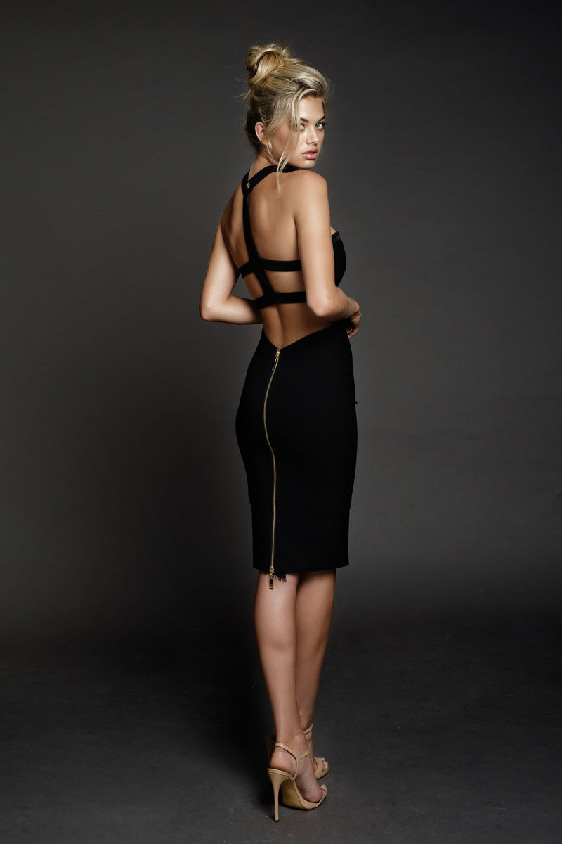 Duke n Co dress, back view of the Claire Dress in black.