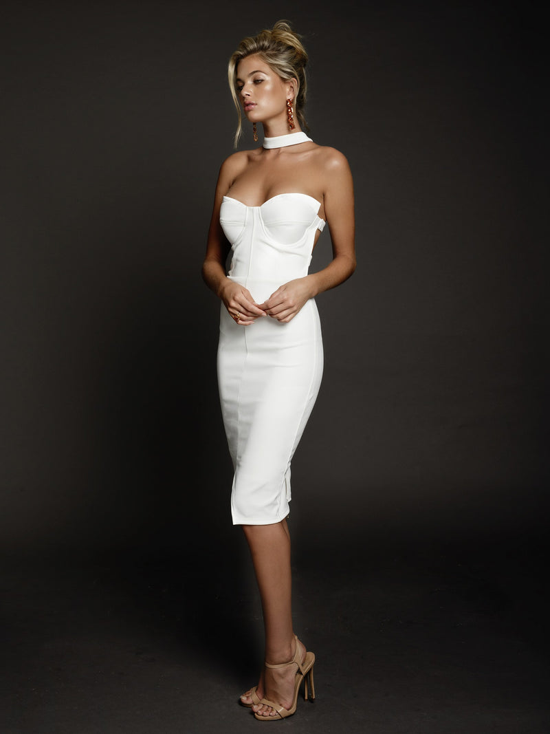 Claire Dress in White by Duke n Co Front View