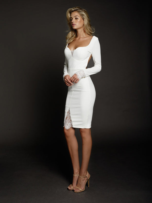 Duke N Co dress, front view of the Allegra Dress in white.