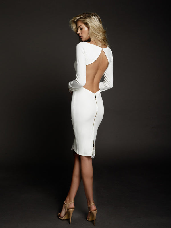 Allegra Dress in White by Duke n Co Back View