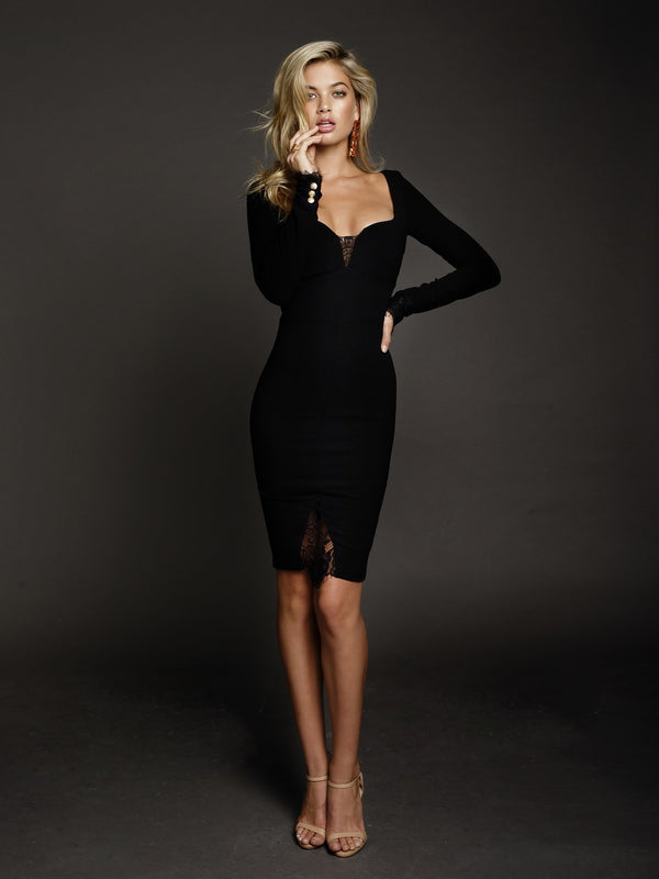 Duke n Co dress, front view of the Allegra Dress in black