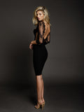 Duke n Co dress, side view of the Allesandra Dress in black.