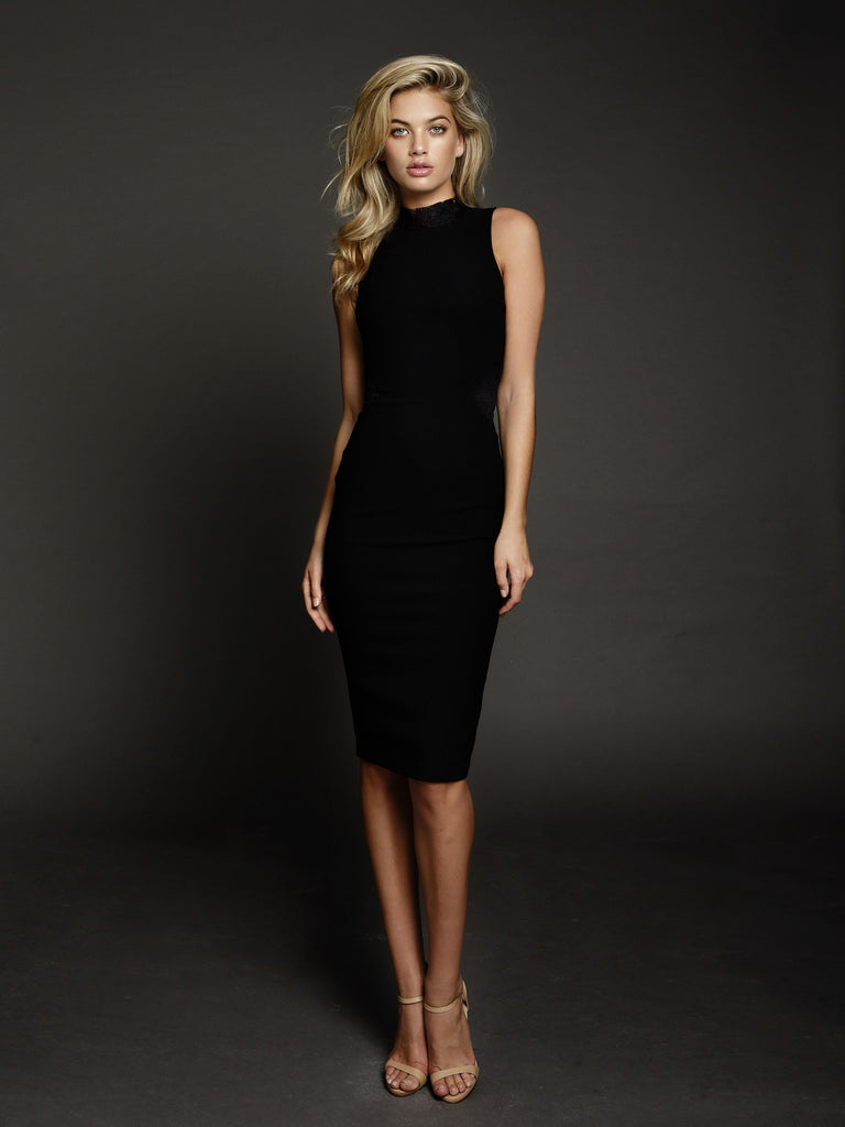 Duke n Co dress, front view of the Carrie Dress in black.