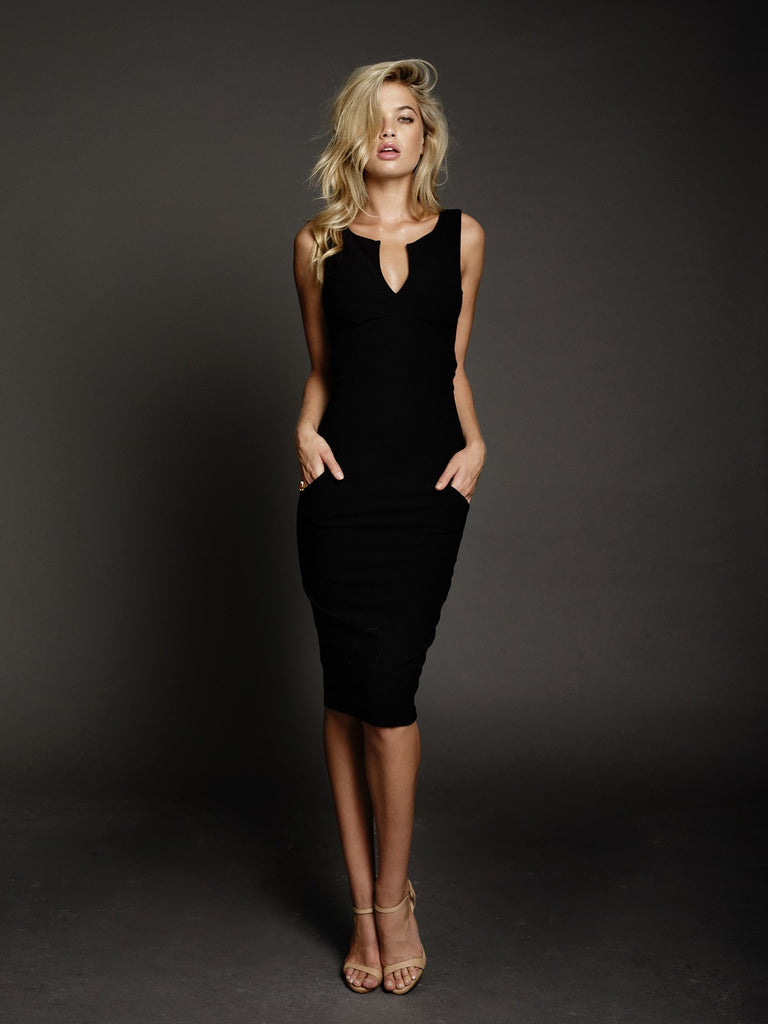 Duke n Co dress, front view of the Alexis Dress in black