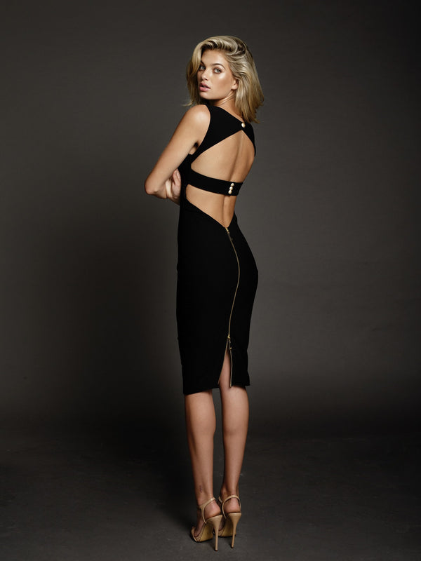 Duke n Co dress, back view of the Alexis Dress in black.