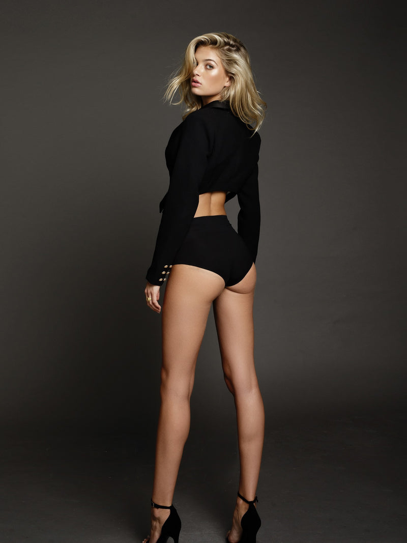 Duke n Co blazer, back view of the Giselle Cropped Blazer in black.