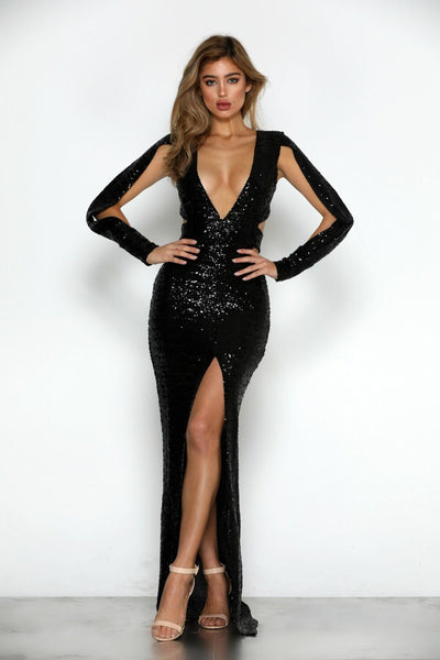 Verona Sequin Gown by Micaah Front View