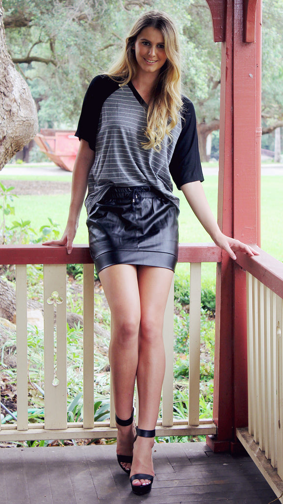 Crusader Top in Black / Grey