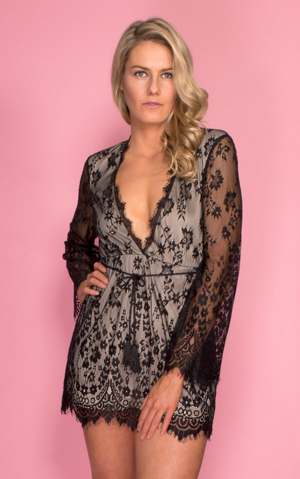 Tiger Mist dress, front view of long sleeve black lace dress Delilah.