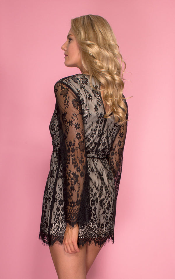 Tiger Mist dress, rear view of the Delilah, a long sleeve black lace dress.