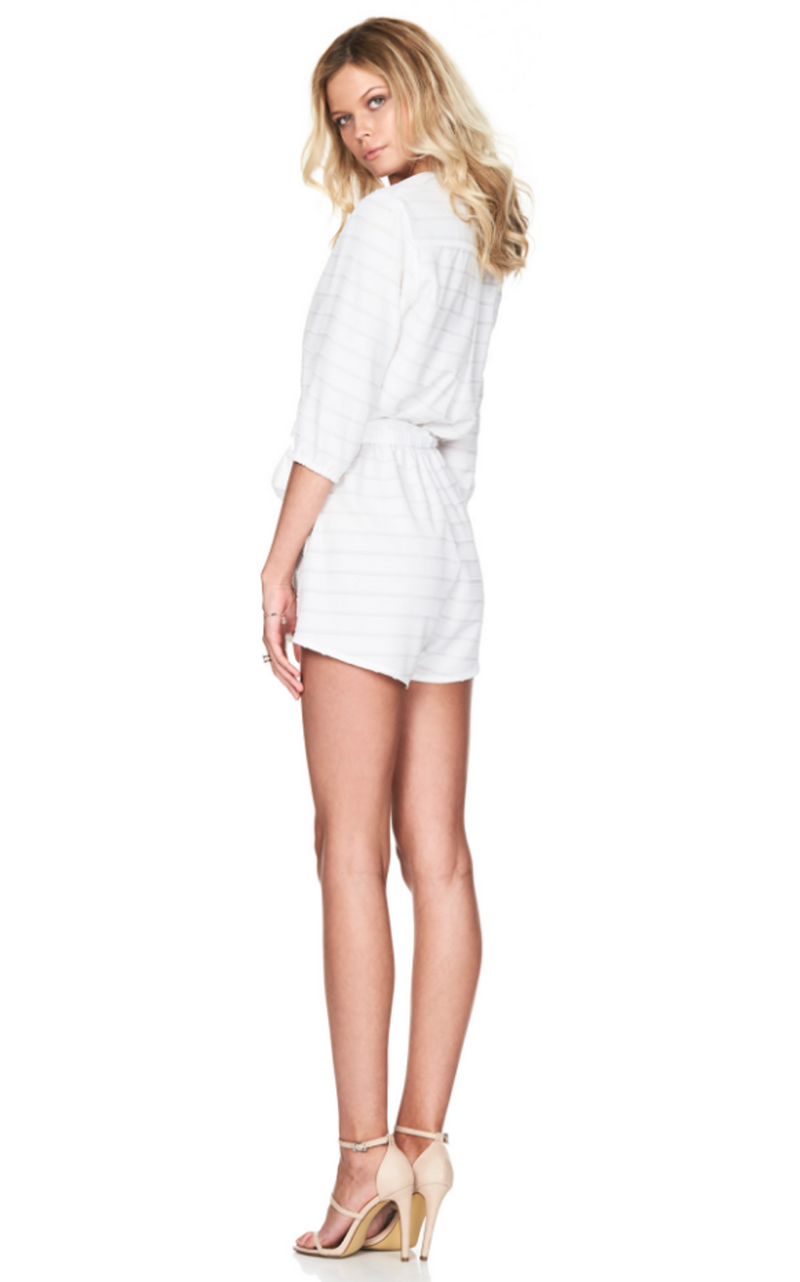 Dreamstate Playsuit in ivory, a Nookie playsuit, back vieiw full length.
