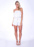 Reverse Official playsuit, front view of Calling Charlie Playsuit in white.