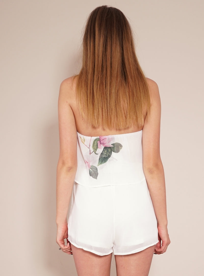 Reverse Official Playsuit, back view of the floral playsuit Pink Lady.