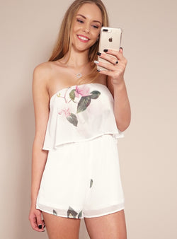Reverse Playsuit, cropped front view of their strapless playsuit, Pink Lady Playsuit.
