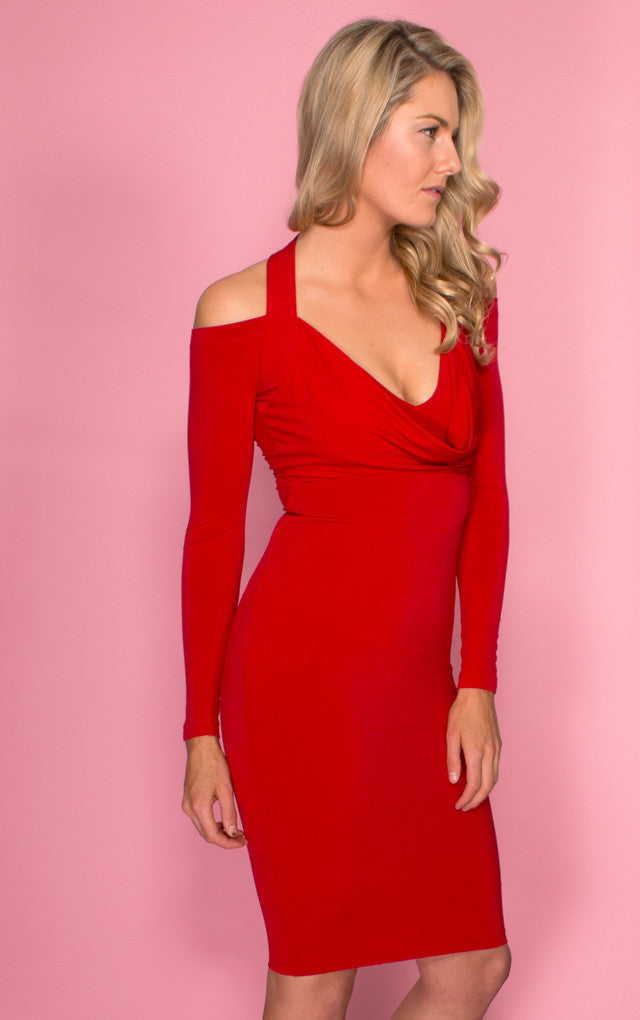 A red bodycon Nookie dress, front side view of the Girl Talk Cowl Dress.