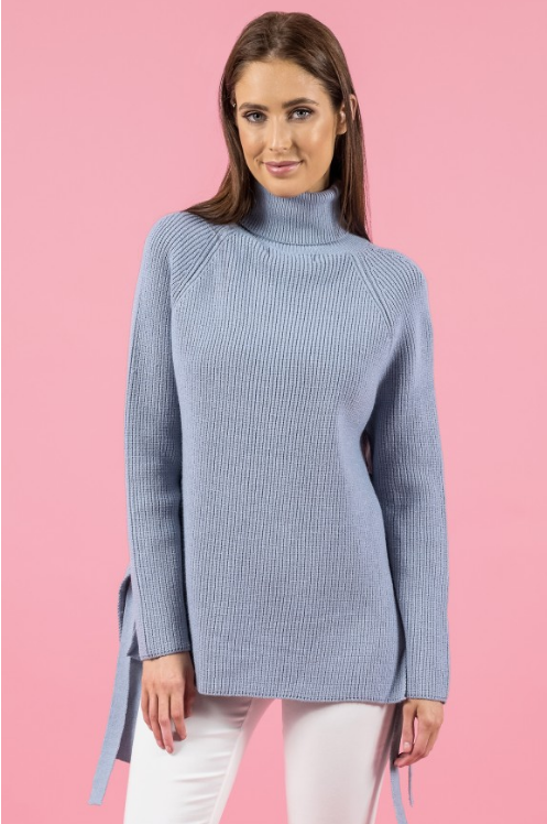Style State jumper, front view of the Side Tie Turtleneck Knit in grey blue.
