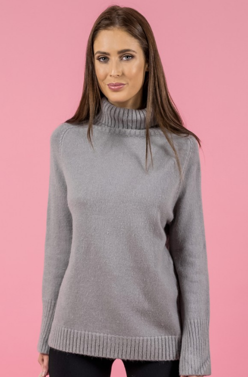 Style State jumper, crop front view of Turtleneck Split Sleeve Knit in grey.