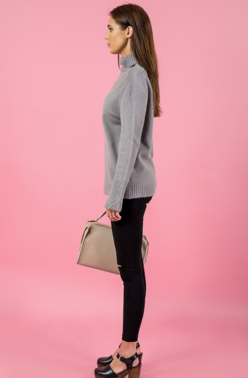 Style State jumper, side view of the Turtleneck Split Sleeve Knit in grey.
