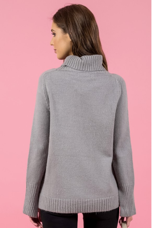 Style State jumper, back view of the Turtleneck Split Sleeve Knit in grey.