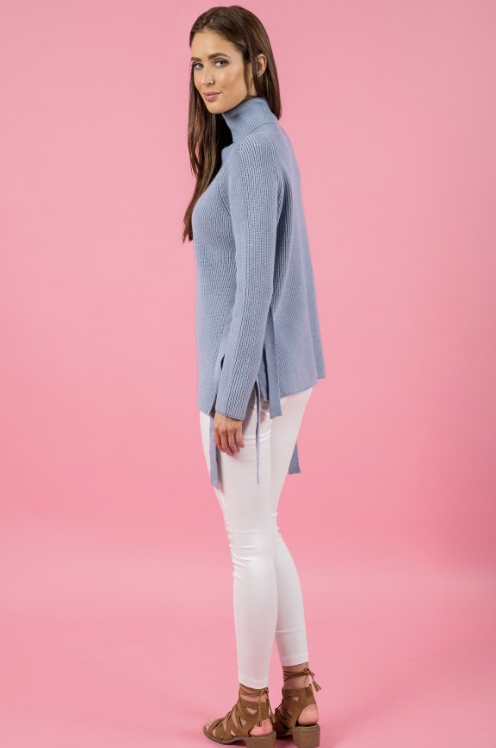 Style State jumper, full side view of the Side Tie Turtleneck Knit, in grey blue.