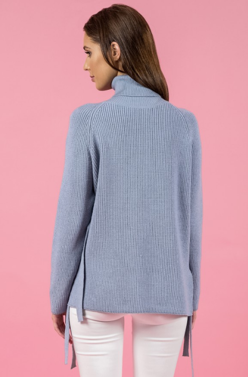 Style State jumper, rear view of the Side Tie Turtleneck Knit in grey blue.