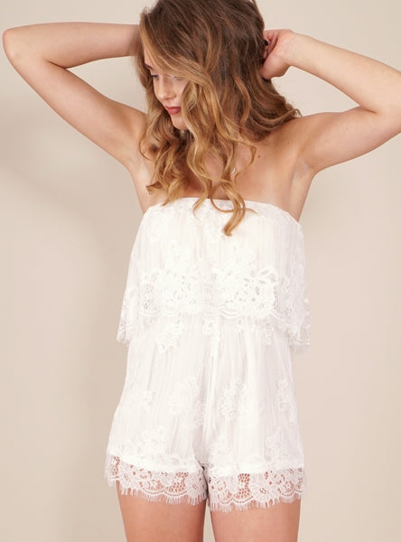 Pina Colada Playsuit in White by Reverse