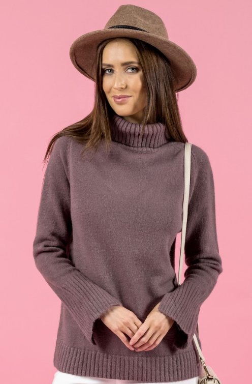Style State jumper, front crop view of  Turtleneck Split Sleeve Knit, in mauve.