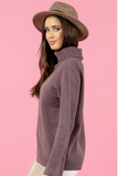 Stylestate jumper, crop side view of Turtleneck Split Sleeve Knit, in mauve.