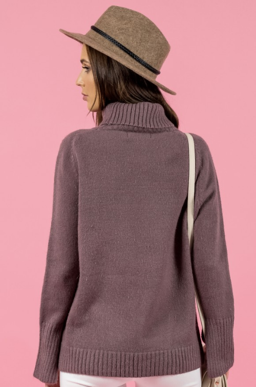 Style State jumper, rear view of Turtleneck Split Sleeve Knit, in mauve.