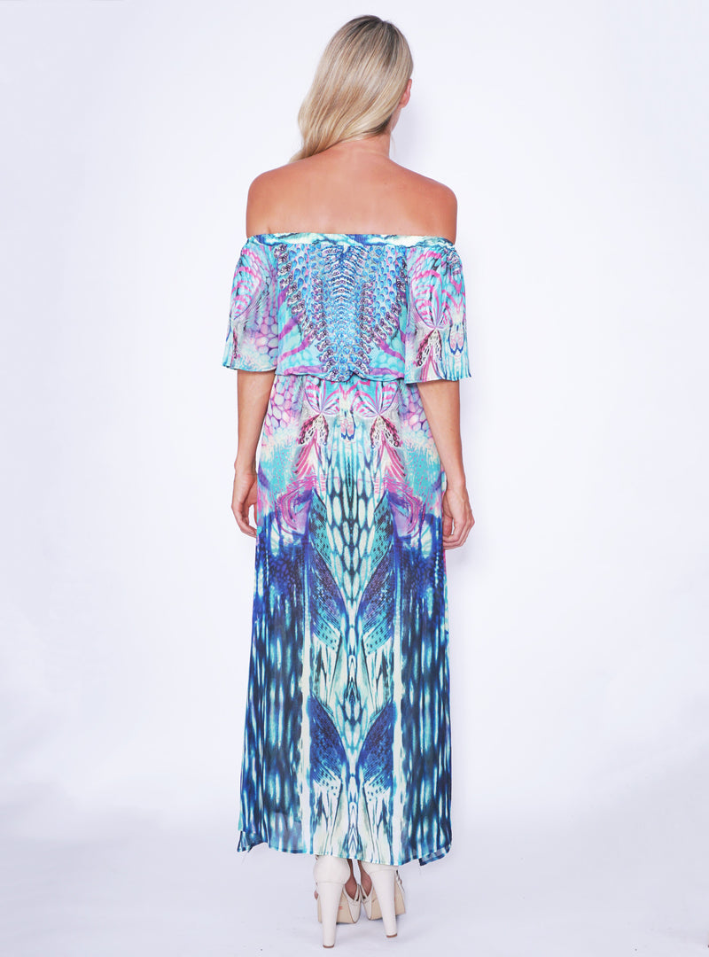 Reverse dress, back view of the Harlequin Maxi Dress in teal.