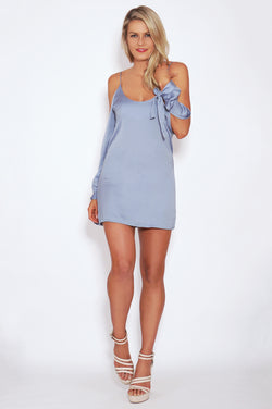 Tiger Mist dresses, full view of cold shoulder mini dress Need Me, in blue.