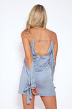 Tiger Mist dresses, rear view of silky blue mini dress Need Me.