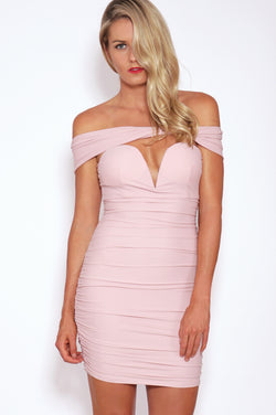 Tiger Mist dresses, front view of the pink off the shoulder Sweetest Song Dress.