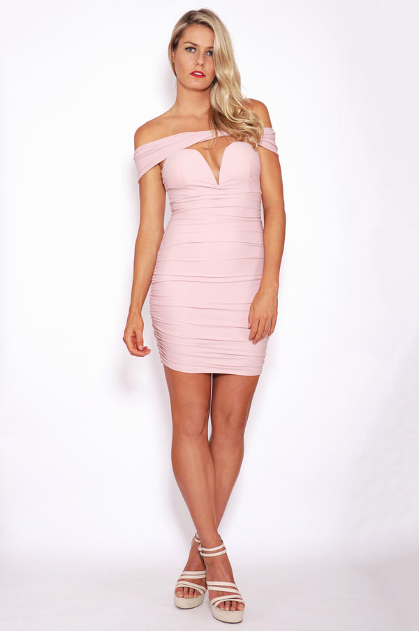 Tiger Mist dresses, full view of pink bodycon dress the Sweetest Song.