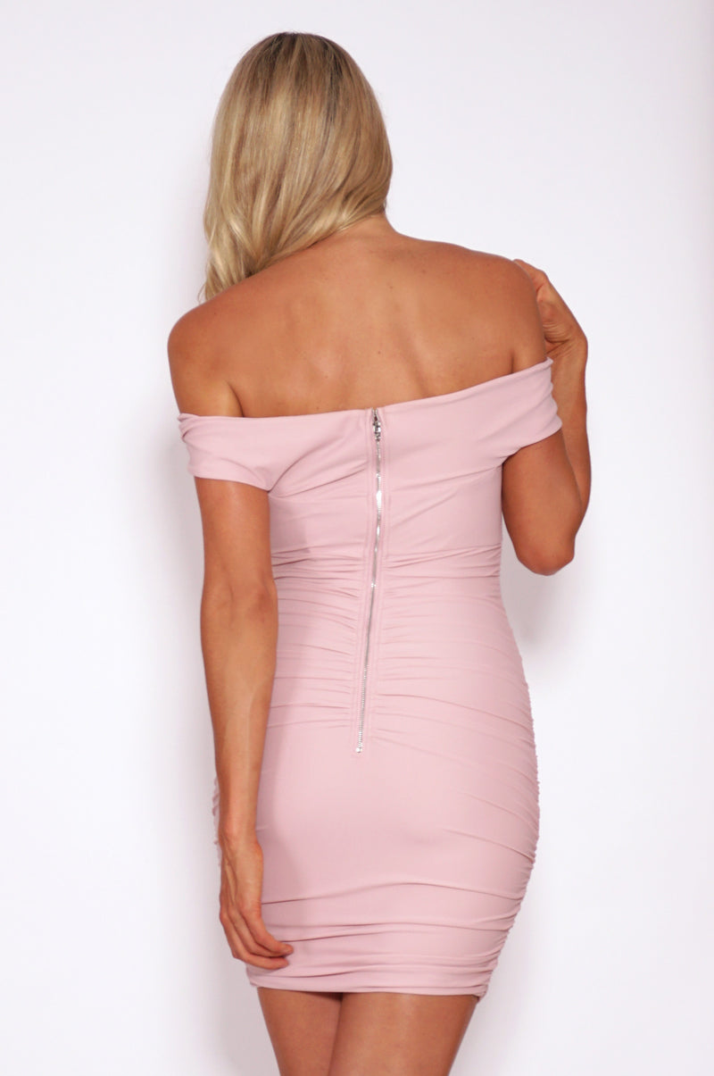 Tiger Mist dresses, rear view of the pink bodycon Sweetest Song Dress.