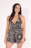 Tiger Mist playsuit, front view of the Move Me Playsuit in black print.