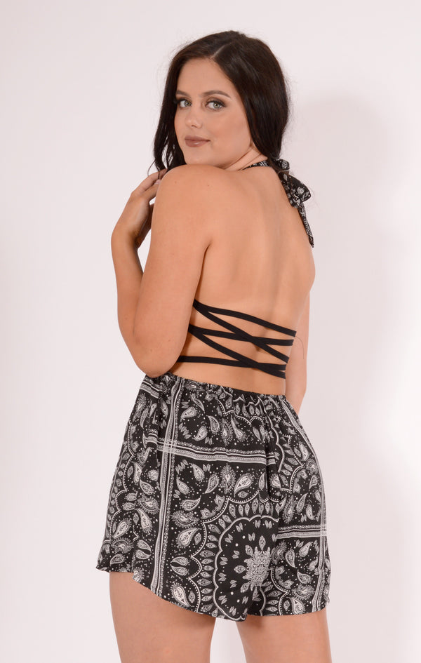 Tiger Mist playsuit, rear view of halter neck playsuit Move Me.