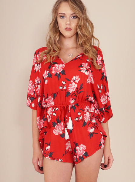 Melody Playsuit in Red by Reverse