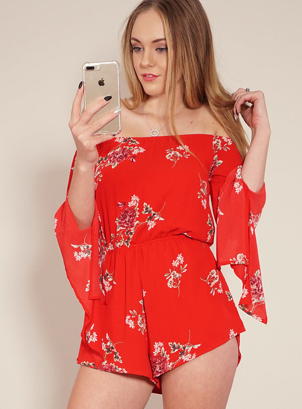 Reverse Playsuit, front view of Loving Alice, a floral playsuit.