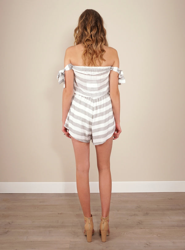 Reverse Playsuit, rear view of Monochrome Dream in white/grey stripe.