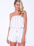 Reverse playsuit, cropped front view of the Calling Charlie Playsuit, a strapless white playsuit.