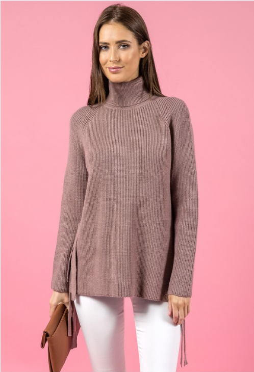 Style State jumper, front view of Side Tie turtleneck sweater.