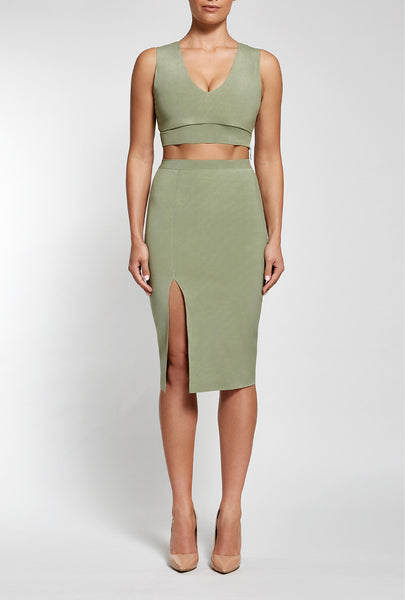 Reign Cartel Skirt, front view of the Unconditional Midi in seagrass.