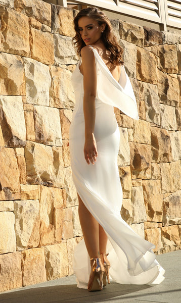 Camellia Satin Gown in White