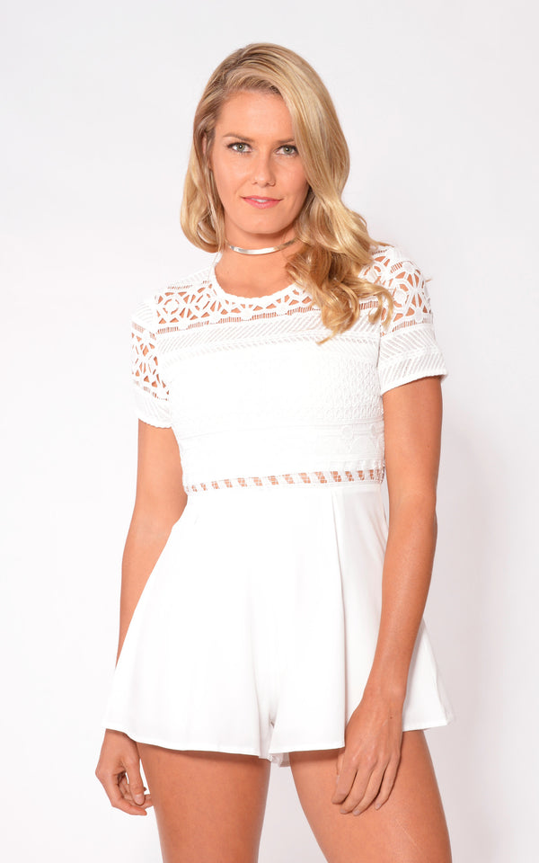 White Lace Playsuit by Electric Honey
